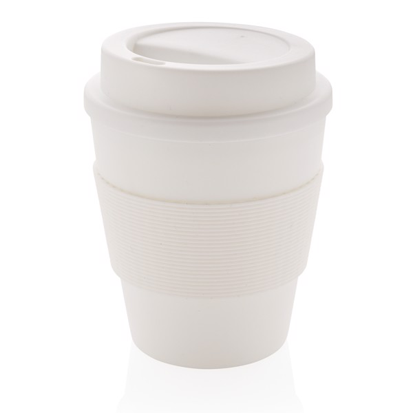 Reusable Coffee cup with screw lid 350ml - White