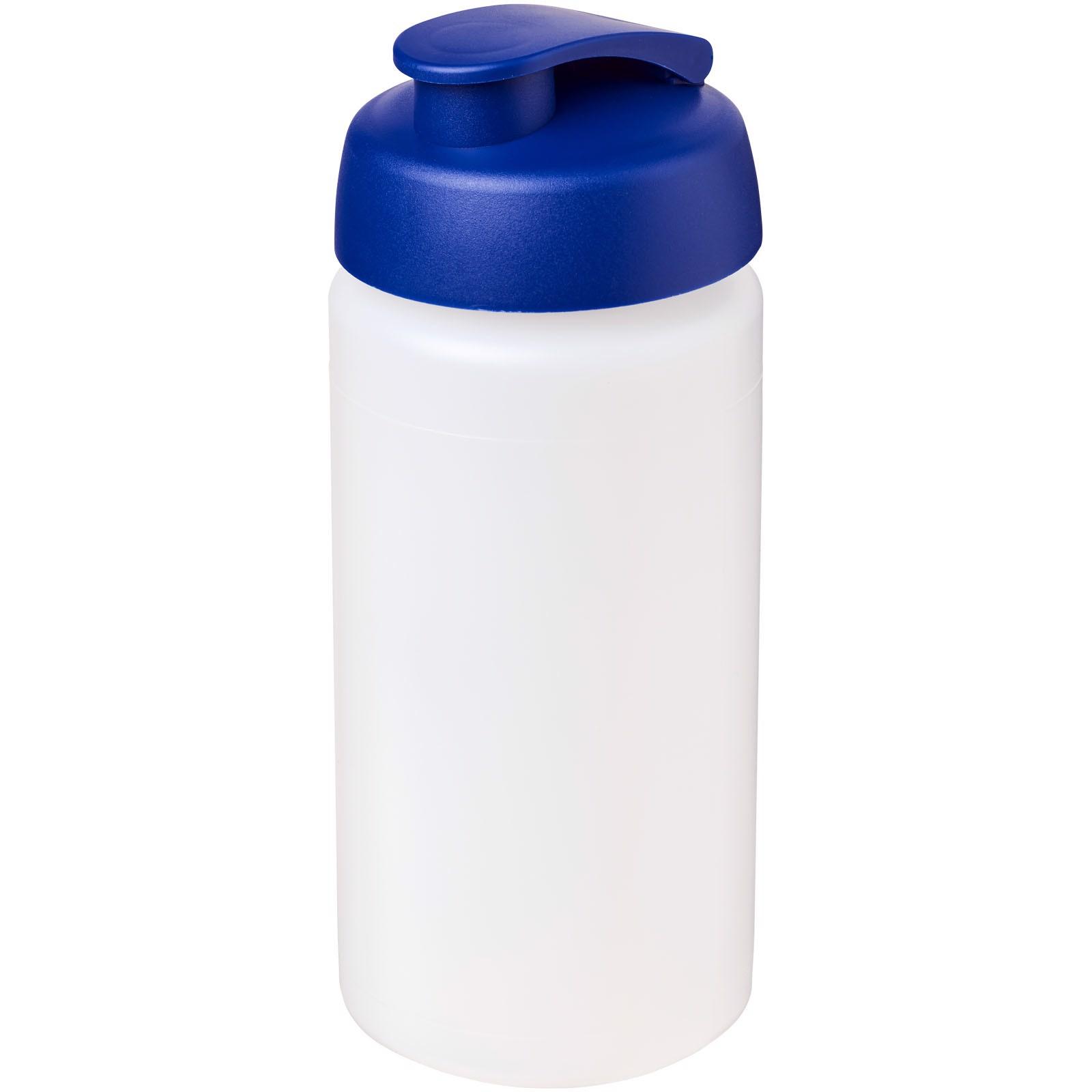 Sportovní láhev s vyklápěcím víčkem Baseline® Plus grip 500 ml - Průhledná / Modrá