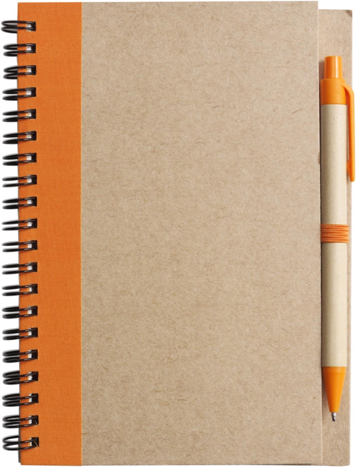 Cuaderno con espiral, y bolígrafo - Orange