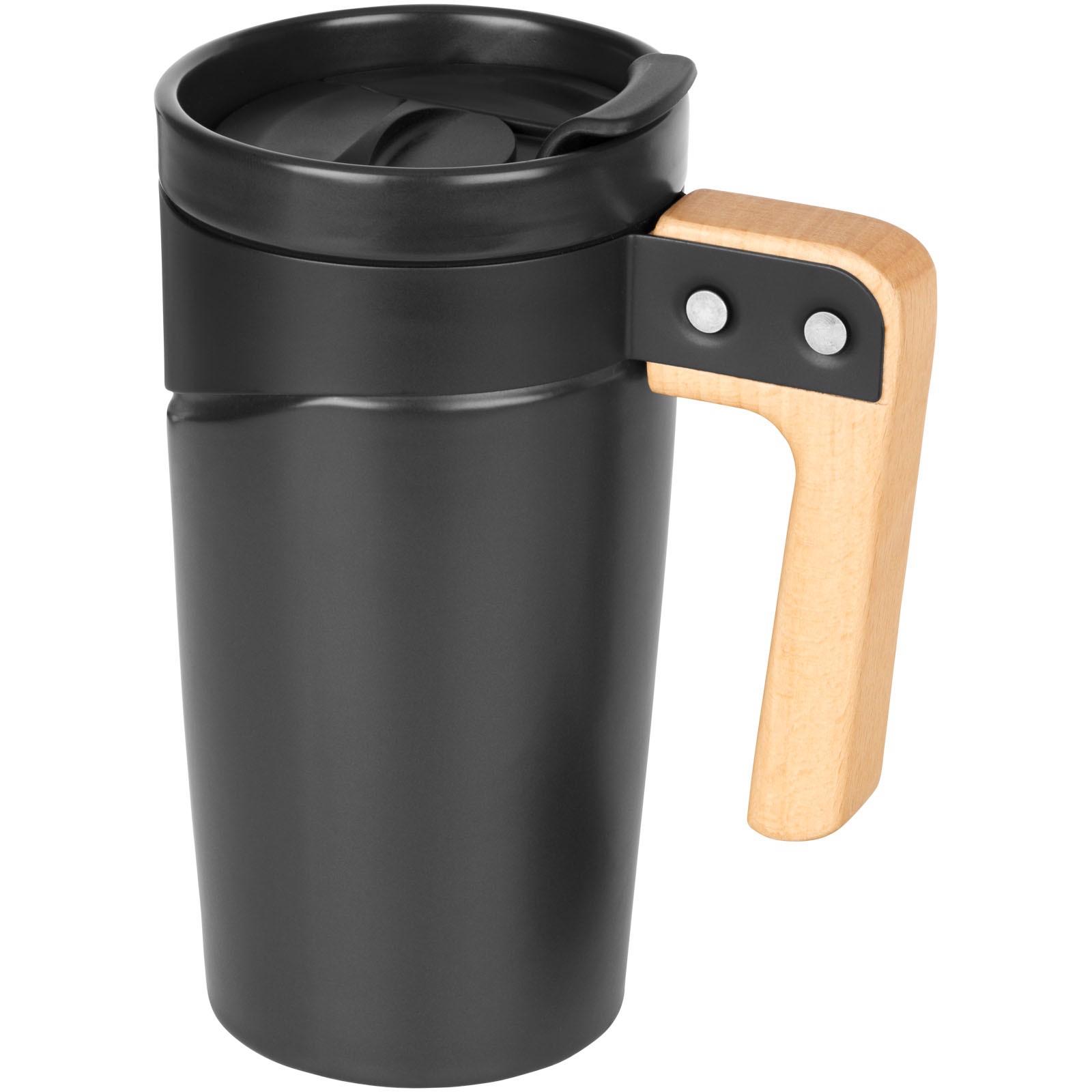 """Taza de cerámica con asa de madera de 475 ml """"Grotto"""" - Negro Intenso"""