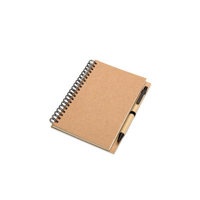 Recycled notebook and ball pen Bloquero - Beige
