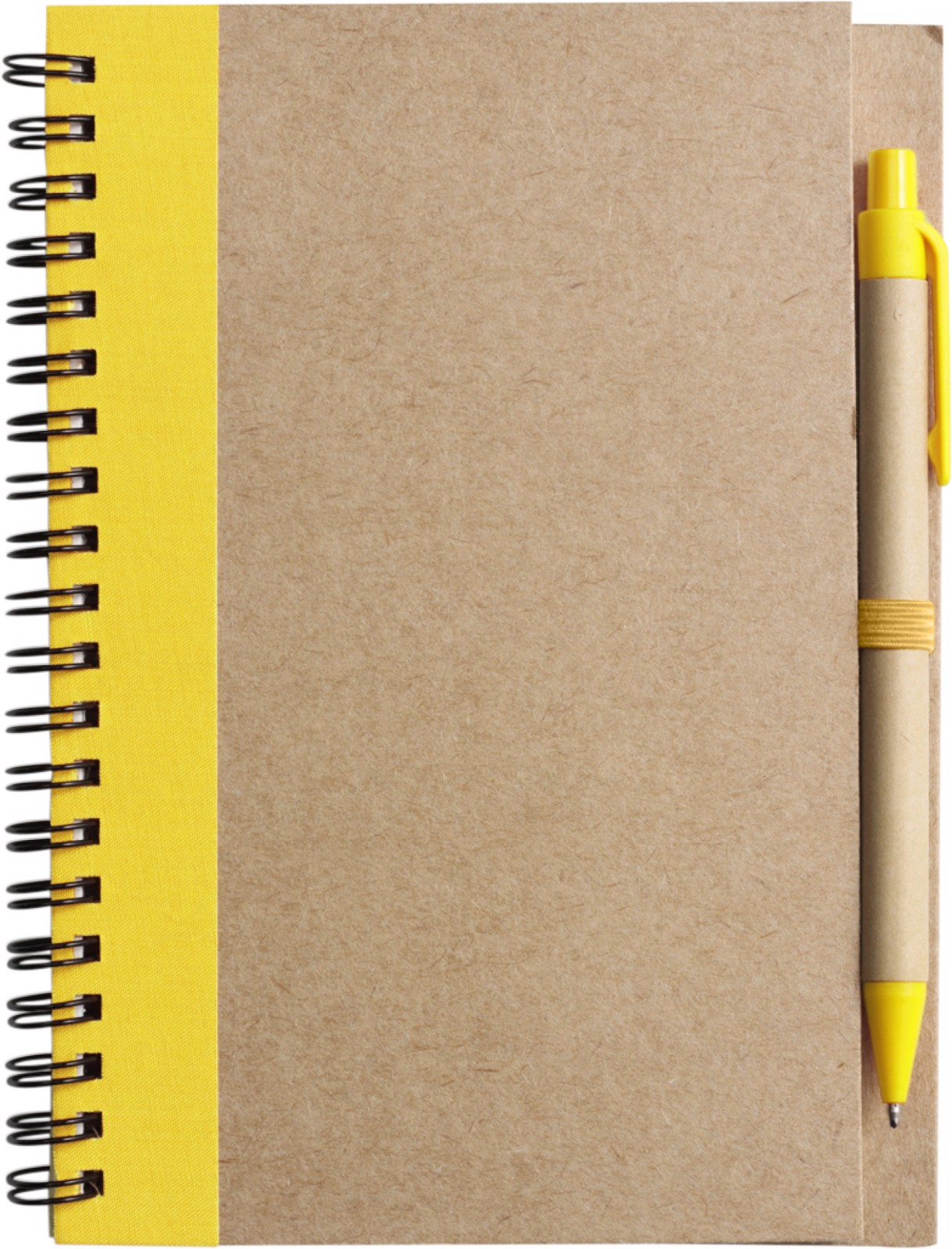 Wire bound notebook with ballpen. - Yellow