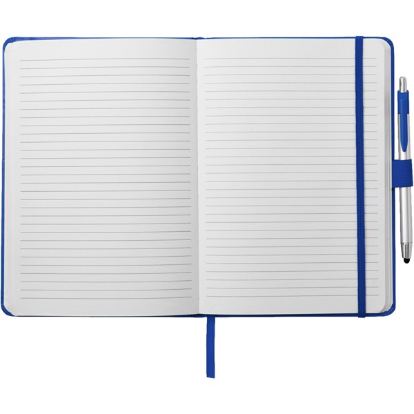 Zápisník A5 Crown a stylus s kuličkovým perem - Modrá