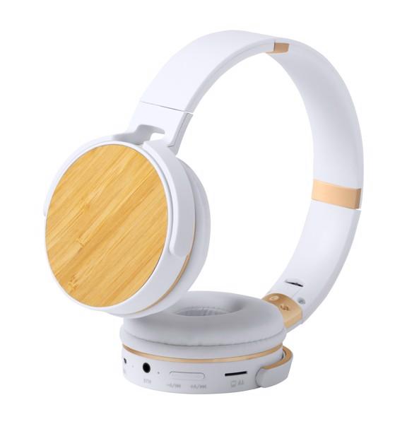 Bluetooth Sluchátka Treiko - Bílá / Přírodní