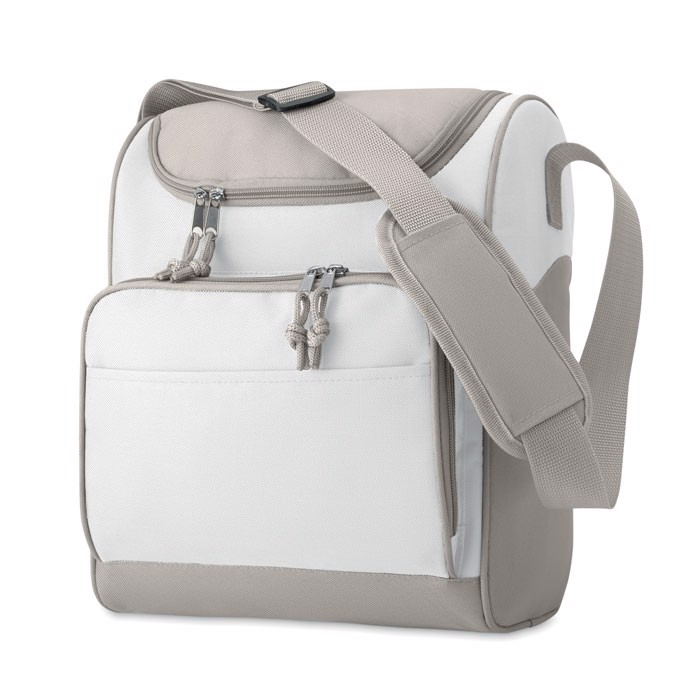 Cooler bag with front pocket Zipper - White