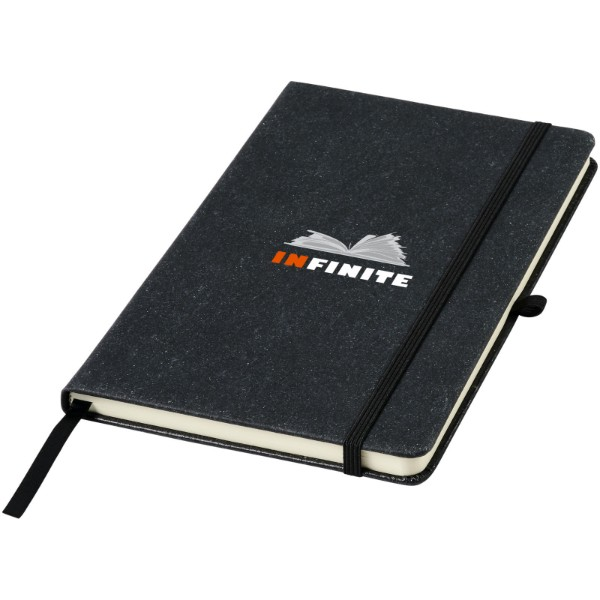 Atlana leather pieces notebook - Solid black