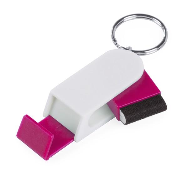 Stojánek Na Mobil S Přívěškem Na Klíče Satari - Bílá / Růžová