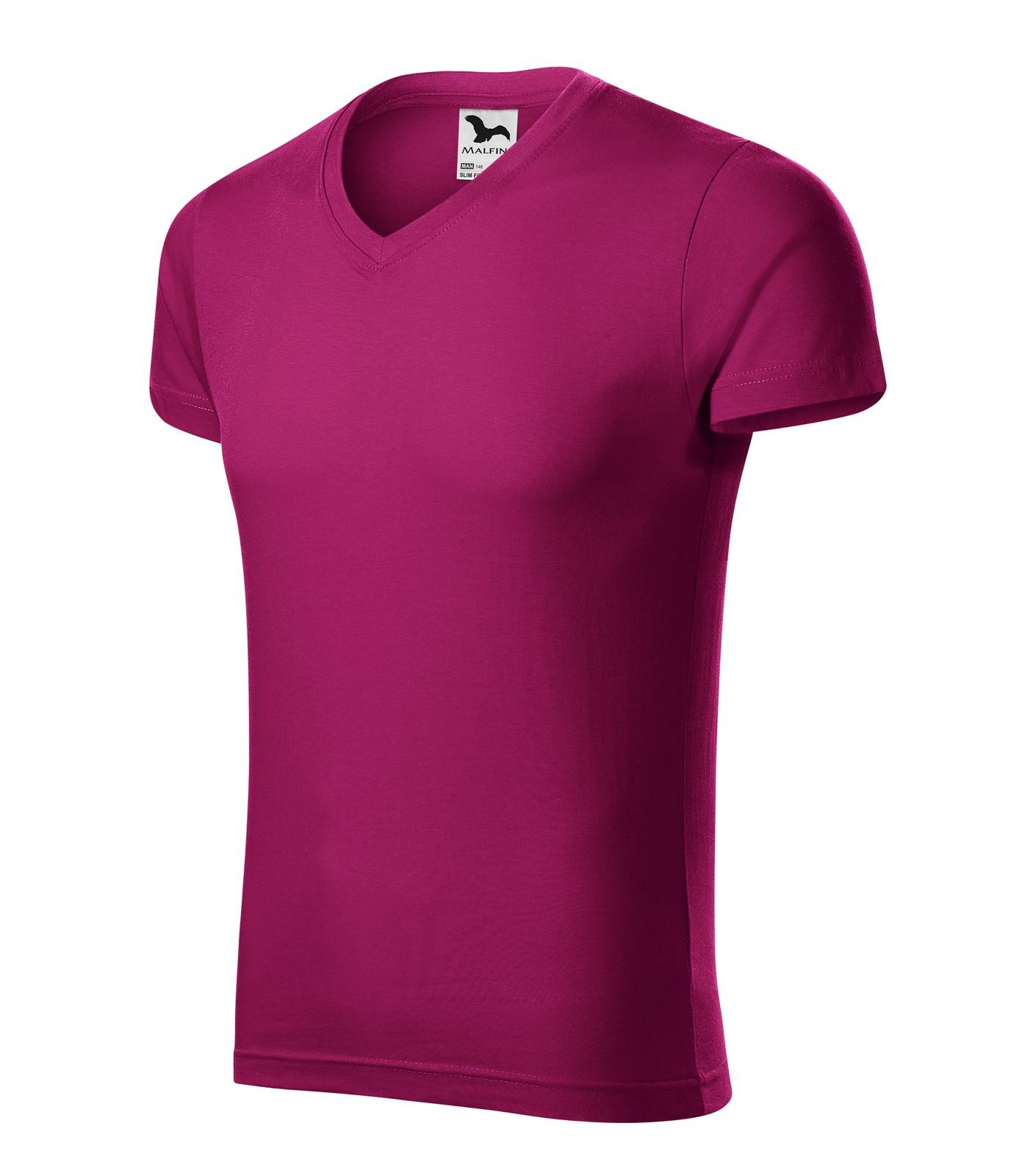 Tričko pánské Malfini Slim Fit V-neck - Fuchsia Red / S