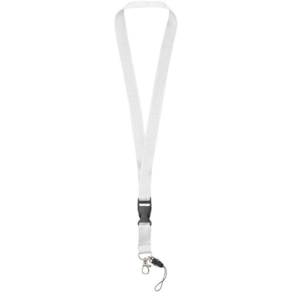 Sagan Lanyard mit abnehmbarer Schnalle und Handyband - Weiss