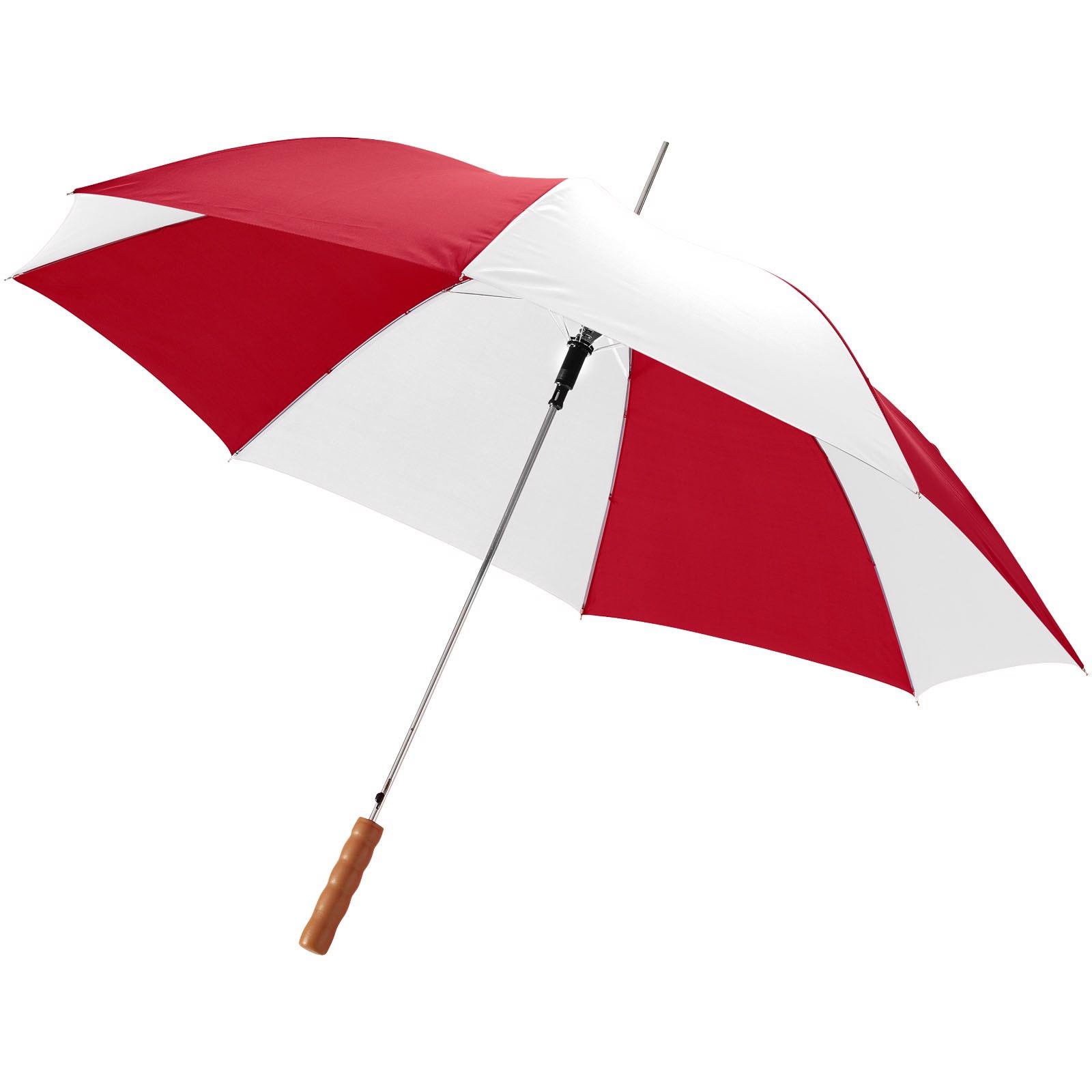 """23"""" deštník Lisa s automatickým otvíráním a dřevěnou rukojetí - Červená s efektem námrazy / Bílá"""