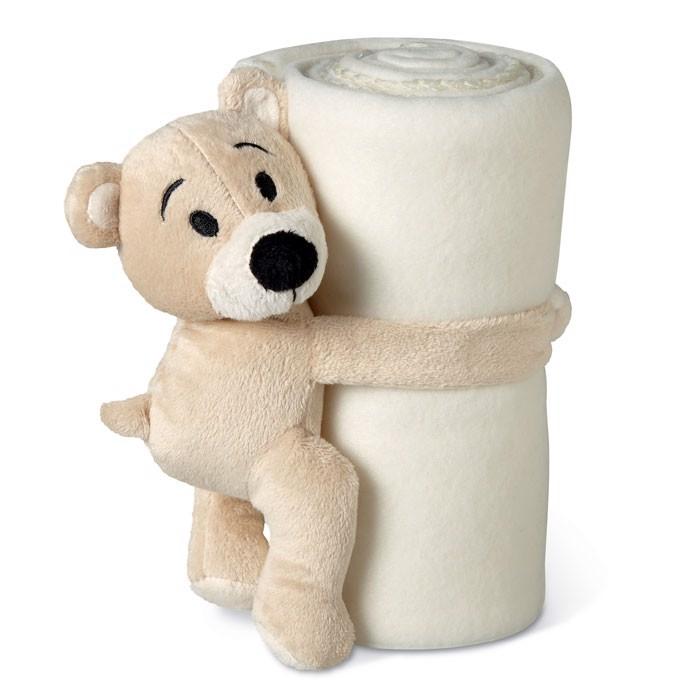 Koc polarowy z misiem. Manta - biały