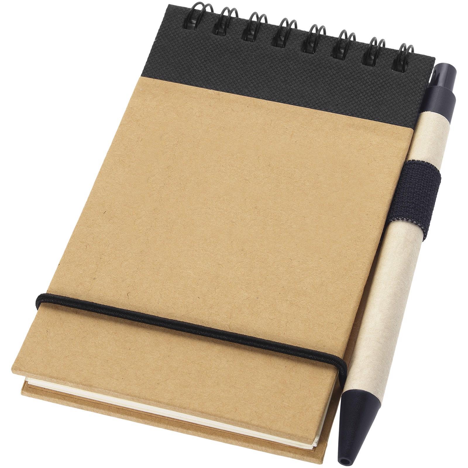 Zápisník A7 Zuse s perem z recyklovaného papíru - Přírodní / Černá