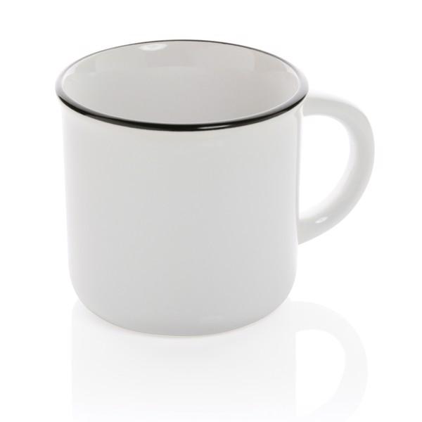 Taza de cerámica vintage - Blanco / Blanco