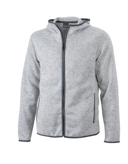 Men`S Knitted Fleece Hoody - Light Melange / Carbon / 3XL