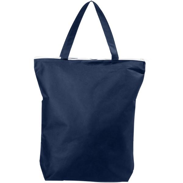 Privy zippered short handle non-woven tote bag - Navy