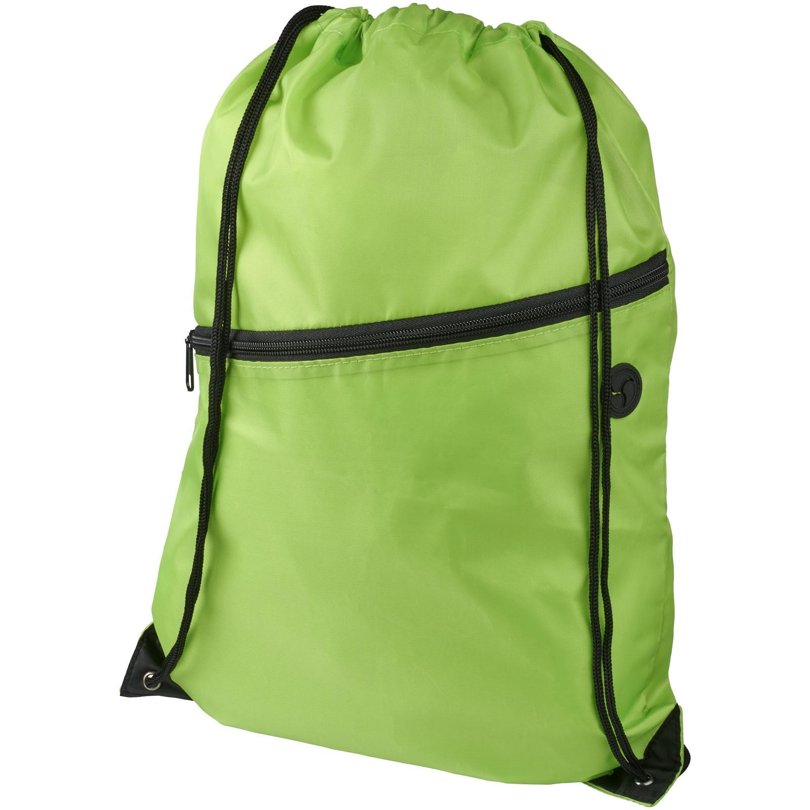 Oriole šňůrkový batoh se zipem - Limetka