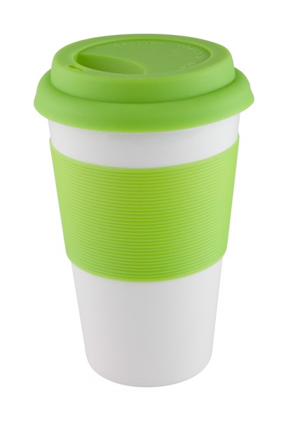 Mug With Silicone Soft Touch - Lime Green / White