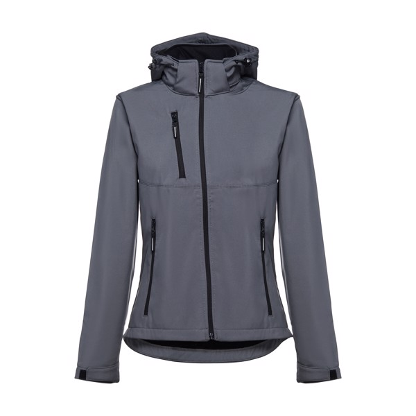 THC ZAGREB WOMEN. Women's softshell with removable hood - Grey / XXL