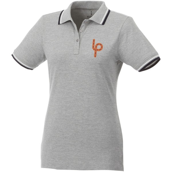 Fairfield short sleeve women's polo with tipping - Grey melange / Navy / White / S