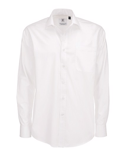 Poplin Shirt Smart Long Sleeve / Men - White / 3XL