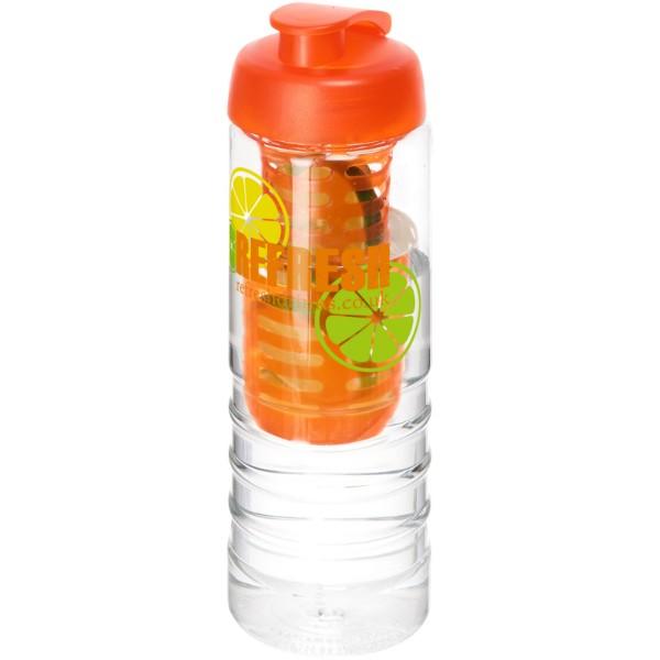 H2O Treble 750 ml lahev s vyklápěcím víčkem a infuzérem - Průhledná / 0ranžová
