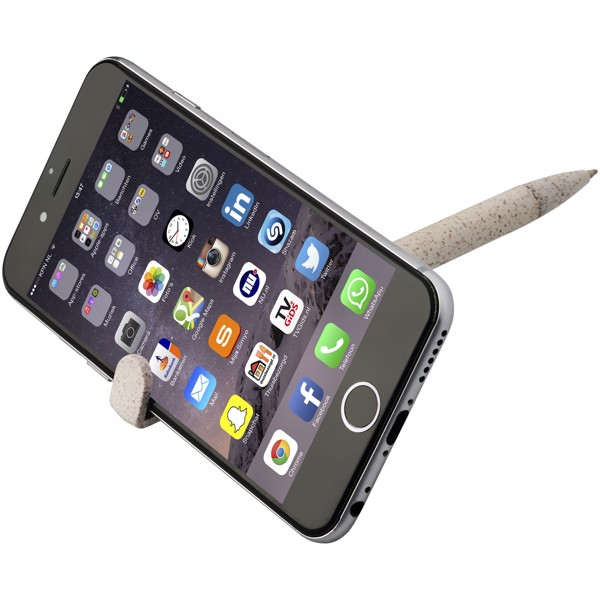 Medan wheat straw ballpoint pen and phone holder - Cream