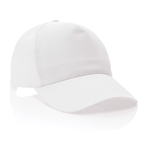 Impact 5 panel 190gr Recycled cotton cap with AWARE™ tracer - White