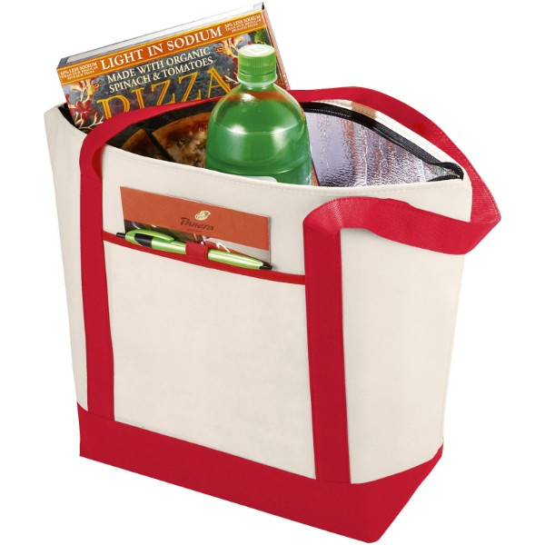 Lighthouse non-woven cooler tote - Natural / Red