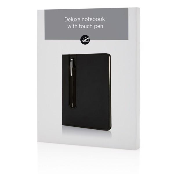 Poznámkový blok A5 Deluxe se stylusovým perem - Černá