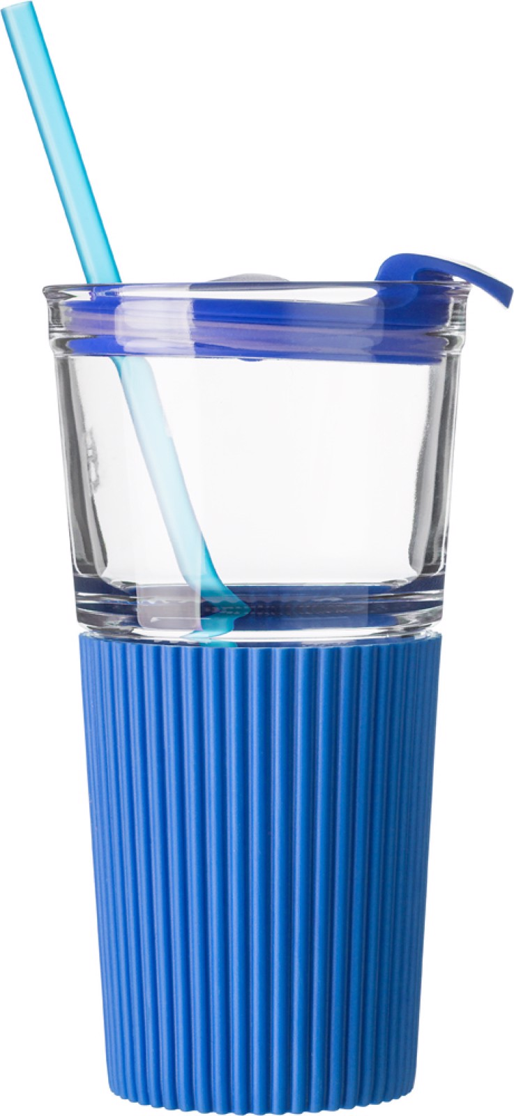 Glass drinking mug with matching straw (500ml) - Cobalt Blue