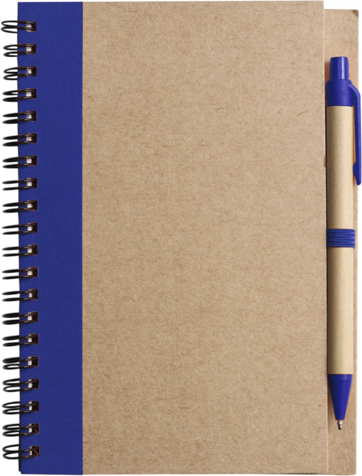 Cuaderno con espiral, y bolígrafo - Blue