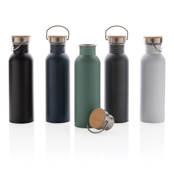 Modern stainless steel bottle with bamboo lid - White