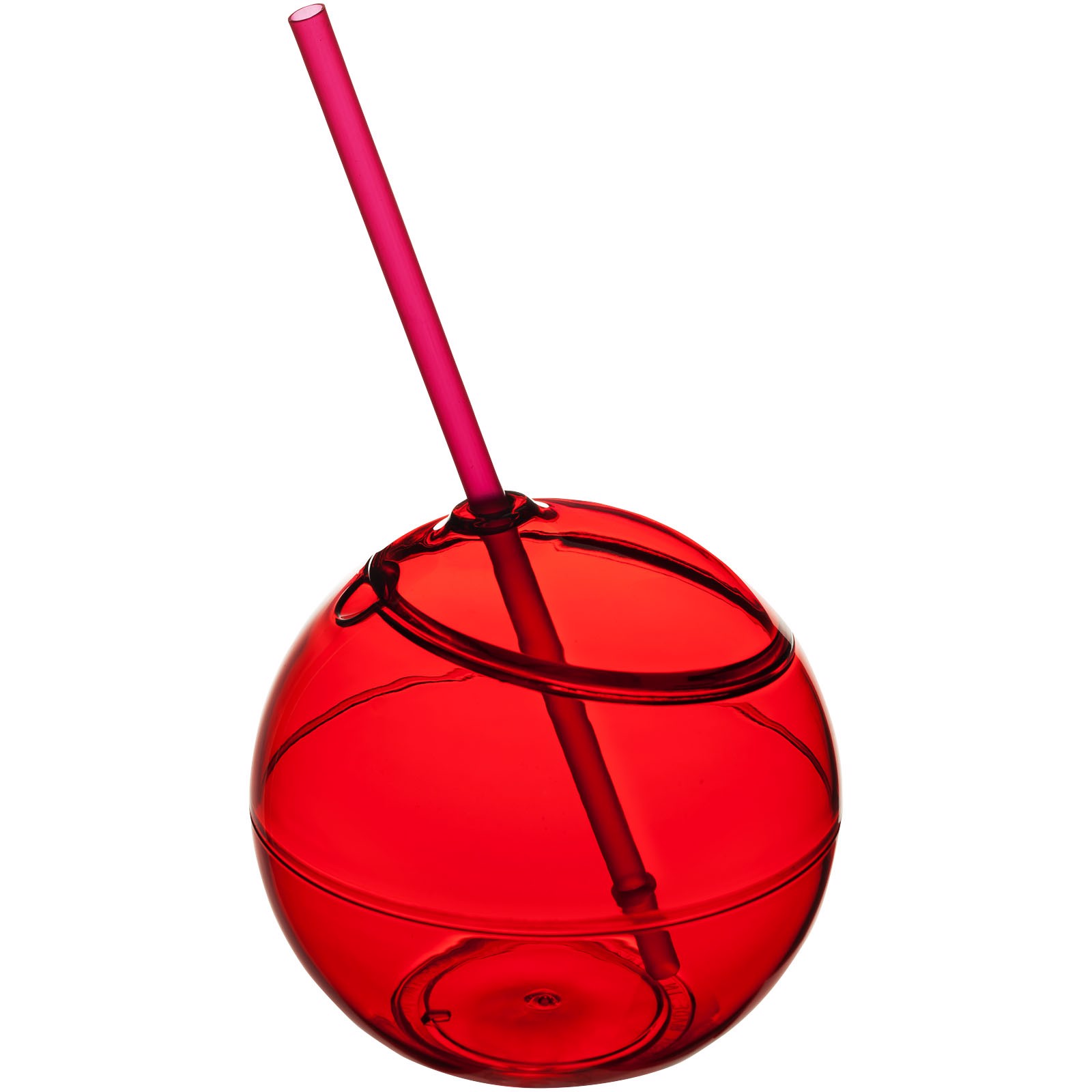 Fiesta 580 ml beverage ball with straw - Red