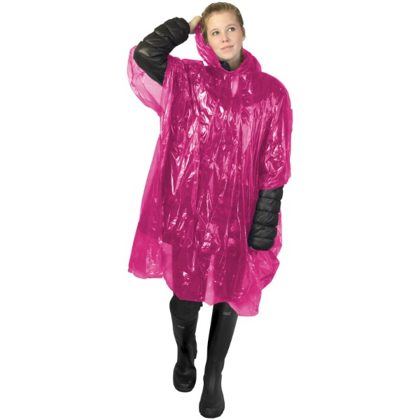 Ziva disposable rain poncho with storage pouch - Pink
