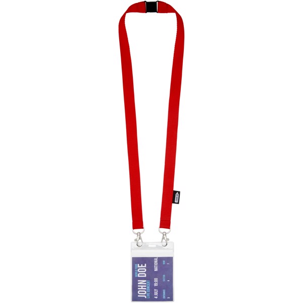 Adam recycled PET lanyard with two hooks - Red