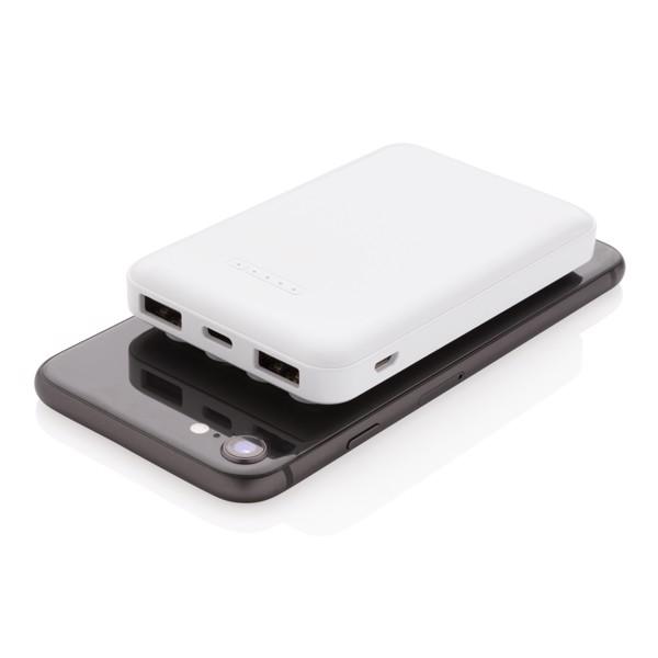 5.000 mAh wireless charging pocket powerbank - White