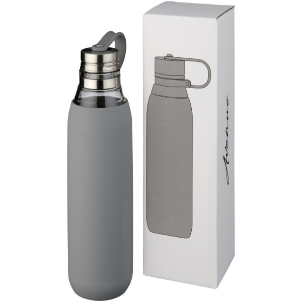 Oasis 650 ml glass sport bottle - Grey