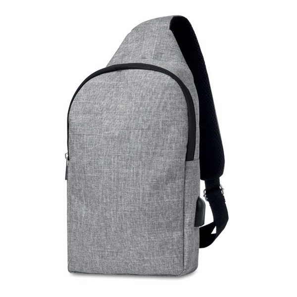 600D 2 tone polyester chest bag Momo - Grey