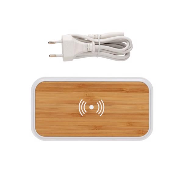 Bambusz 5W-os vezeték nélküli töltő 3 USB csatlakozóval