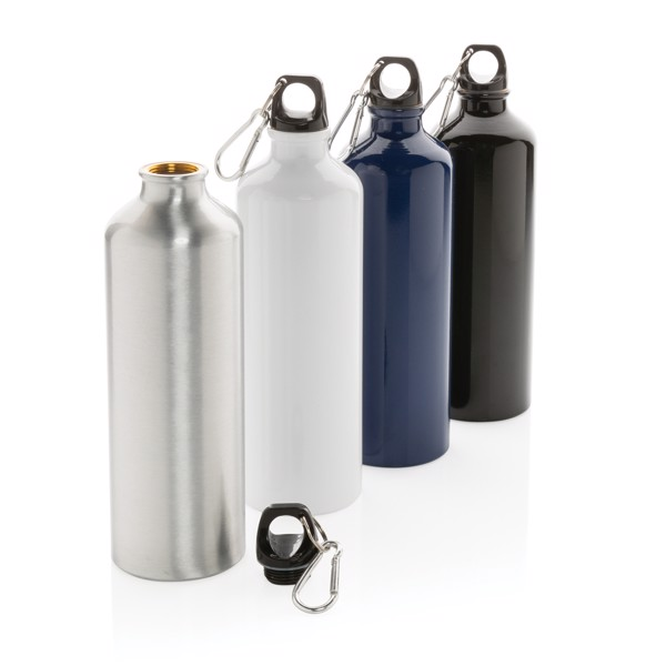XL aluminium waterbottle with carabiner - Blue / Black