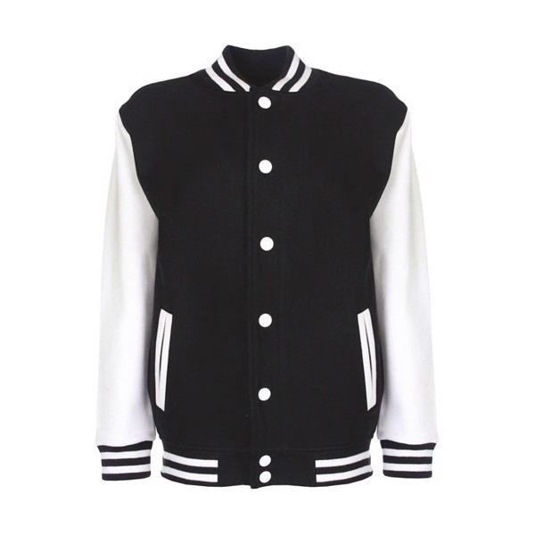 Kids Sweatshirt 300 g/m2 Junior Varsity Jacket Fv002 - Black / White / XXL