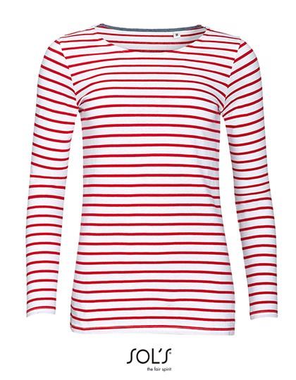 Women`S Long Sleeve Striped T-Shirt Marine - White / Red / XL