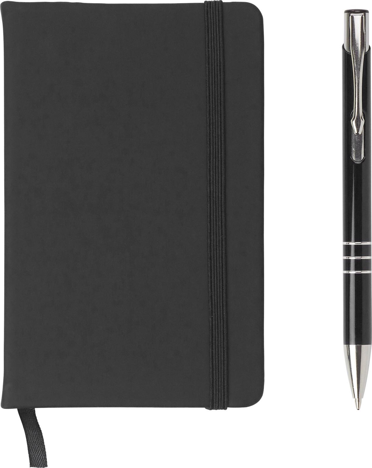 PU notebook with aluminium ballpen - Black