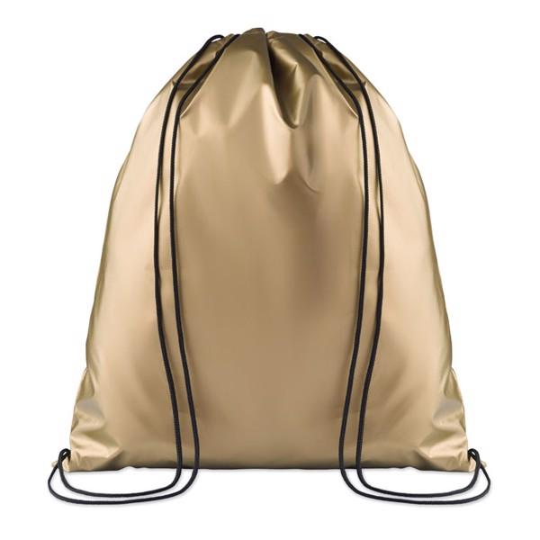Drawstring bag shiny coating New York - Gold