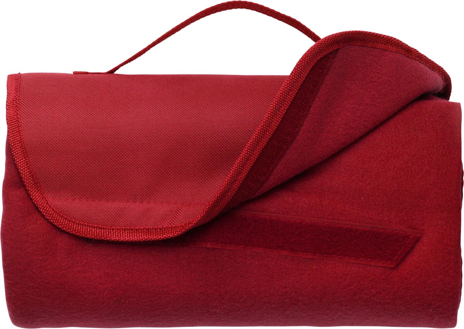 Fleece (165 g/m²) travel blanket - Red