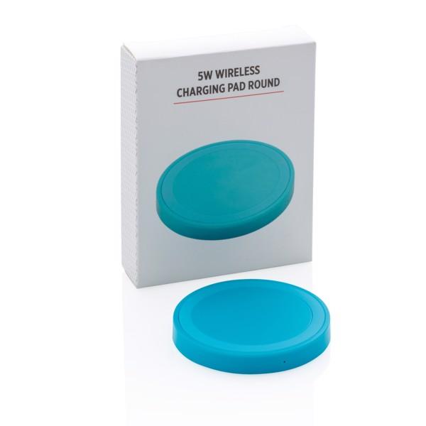 5W-os, kerek vezeték nélküli töltő - Kék