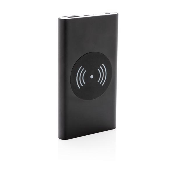 4000 mAh powerbank 5W-os vezeték nélküli töltővel - Fekete