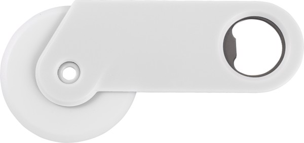 PS pizza cutter and bottle opener - White