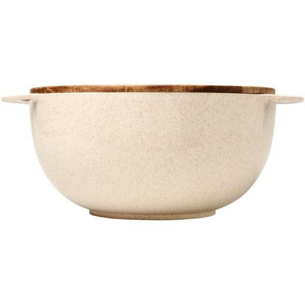 Salátová mísa Lucha z pšeničné slámy se servírovacím příborem - Béžová
