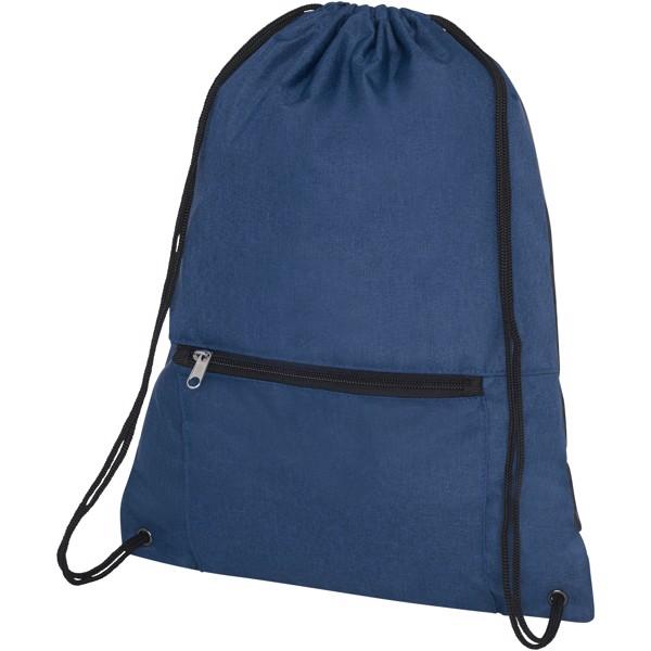 Hoss foldable drawstring backpack - Heather navy